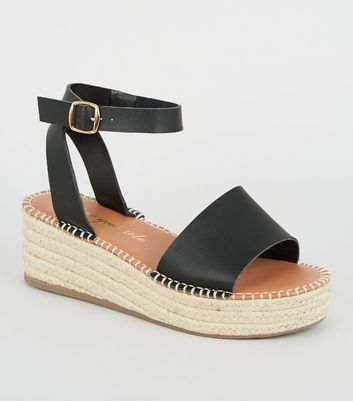 Wide Fit Black Leather-Look Flatform Sandals
