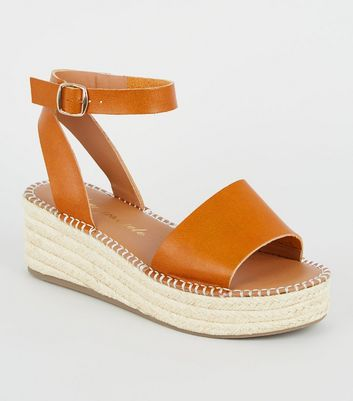 Wide Fit Tan Leather-Look Flatform Sandals