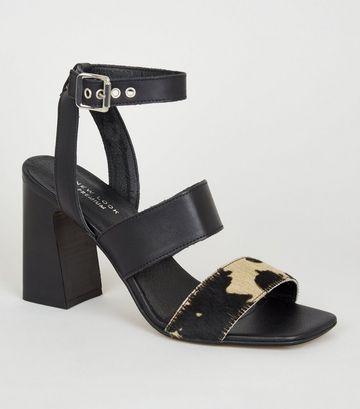 Black Leather Cow Print Strap Block Heels