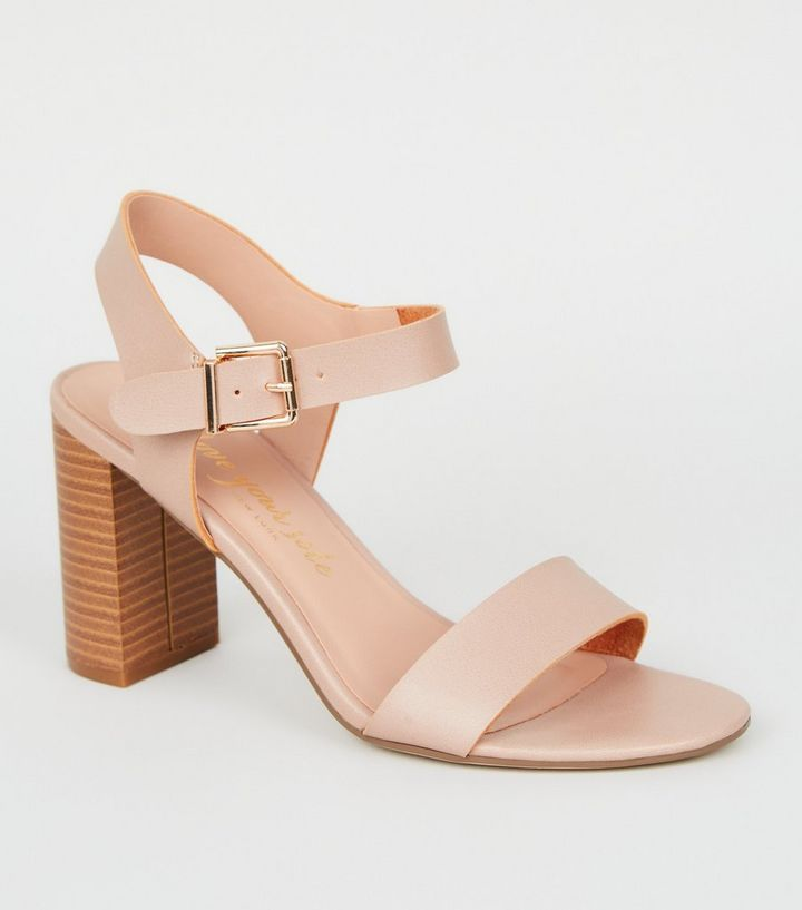 Wide Fit Light Brown Wood Block Heel Sandals Add To Saved Items Remove From Saved Items