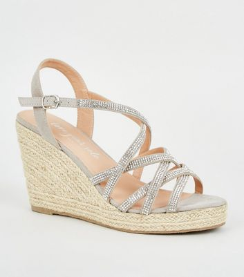 Wide Fit Grey Diamanté Strappy Wedges