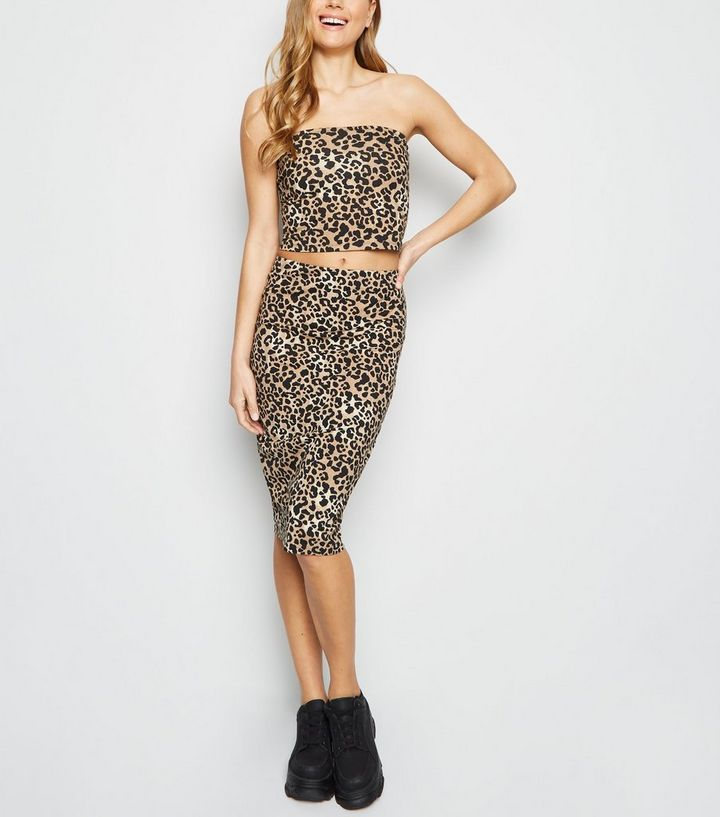 1b55f0d37 Brown Leopard Print Pencil Skirt | New Look