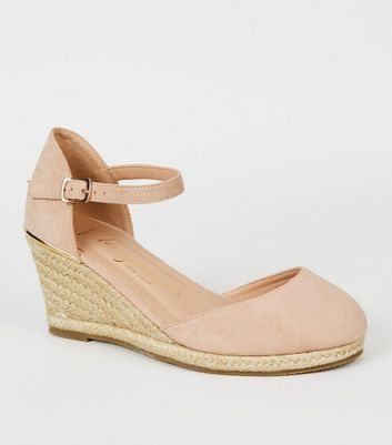 Wide Fit Nude Suedette Espadrille Wedges