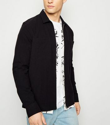 Black Crepe Zip Up Shacket