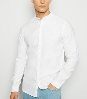 White Grandad Collar Long Sleeve Oxford Shirt