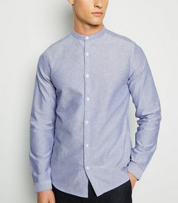 Pale Blue Grandad Collar Oxford Shirt