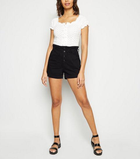 24cc339489 ... Black Button Up Denim Paperbag Shorts ...