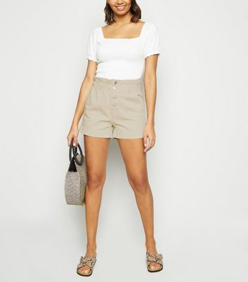Stone Button Up Denim Paperbag Shorts