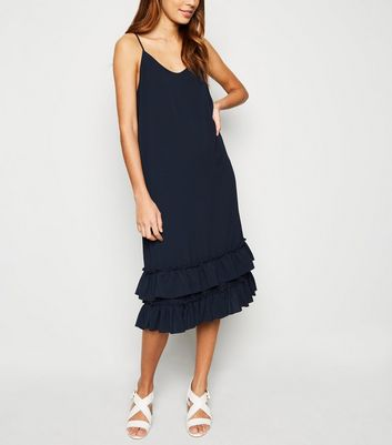JDY Navy Ruffle Midi Dress
