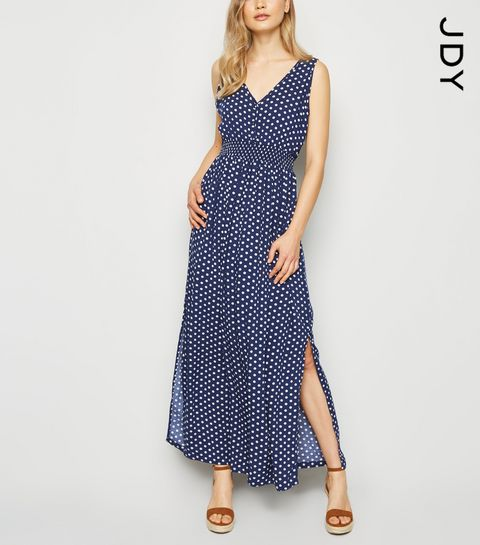 9fc0a553121 ... JDY Blue Spot Button Front Maxi Dress ...