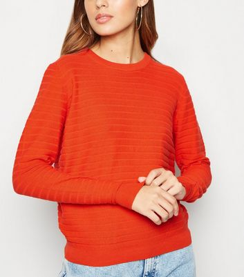 JDY Bright Orange Crew Neck Ribbed Jumper