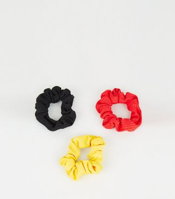 3 Pack Multicoloured Ribbed Scrunchies