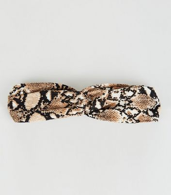 Mid Brown Snake Print Twist Headband