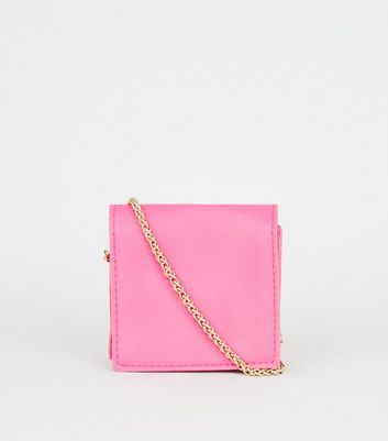 Bright Pink Leather-Look Mini Cross Body Bag