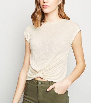 Cream Fine Knit Twist Front Top