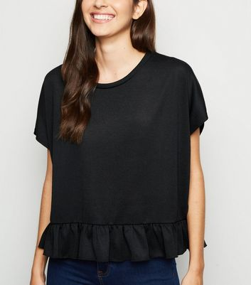 Black Fine Knit Peplum T-Shirt