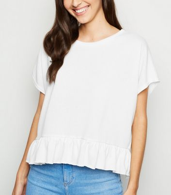 Off White Fine Knit Peplum T-Shirt