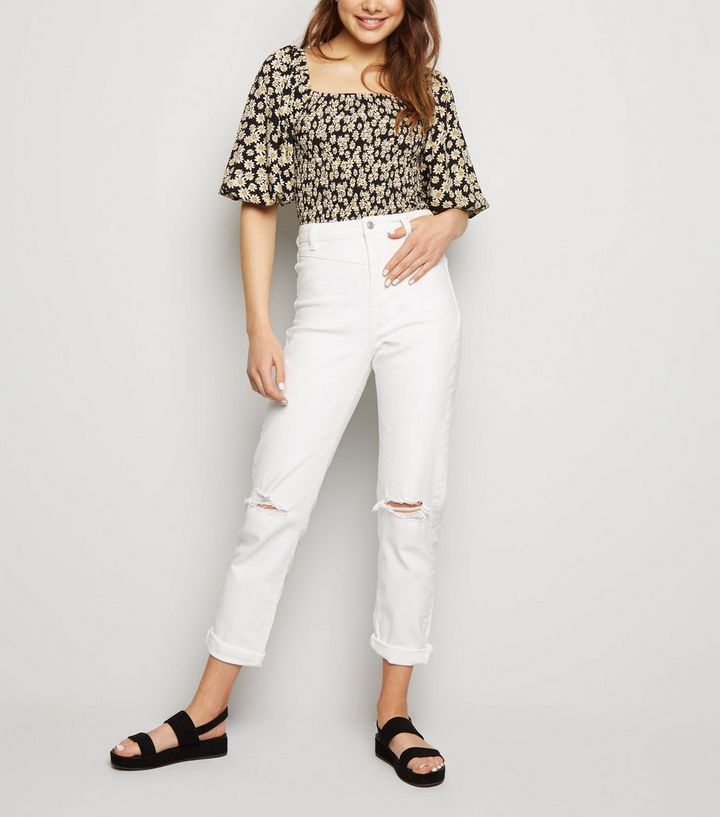 e67854b09d4 White Ripped Tori Mom Jeans | New Look