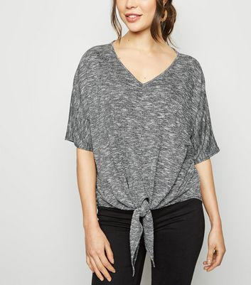 Dark Grey Tie Front Oversized Fine Knit Top