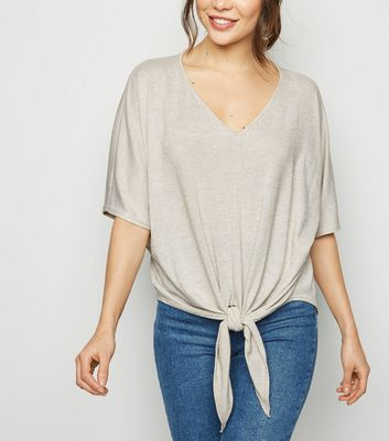 Cream Tie Front Oversized Fine Knit Top