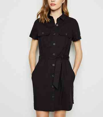 Black Short Sleeve Utility Denim Shirt Dress