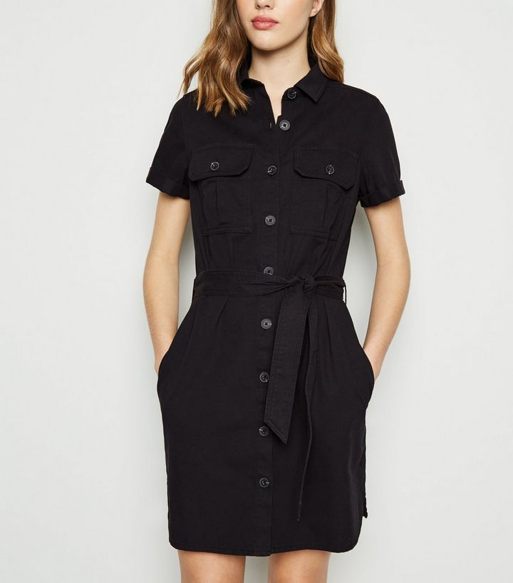 distinctive design wholesale sales pre order Black Short Sleeve Utility Denim Shirt Dress Add to Saved Items Remove from  Saved Items
