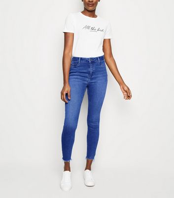 Bright Blue Fray Hem High Waist Skinny Hallie Jeans