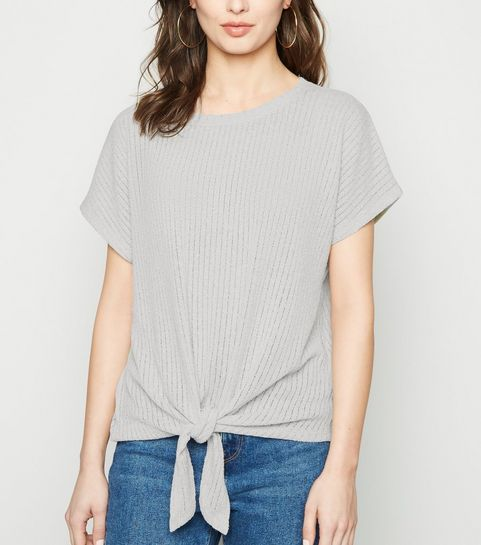 50481831f21 ... Pale Grey Tie Front Fine Knit Top ...