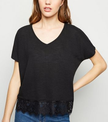 Black Fine Knit Lace Hem T-Shirt