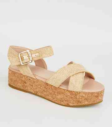 Girls Off White Raffia Flatform Sandals