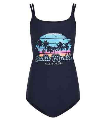 Girls Black Palm Print California Slogan Swimsuit
