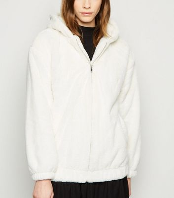 White Faux Fur Hooded Bomber Jacket by New Look