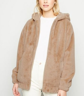Camel Faux Fur Hooded Bomber Jacket by New Look