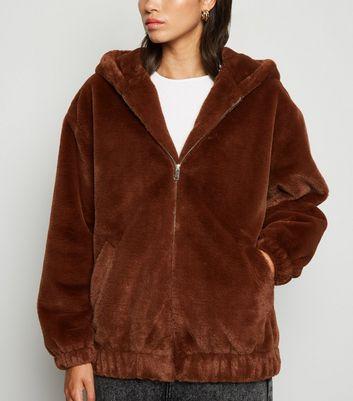 Dark Brown Faux Fur Hooded Bomber Jacket by New Look