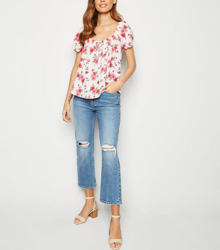 d1012818ddf Nude Floral Tie Front Milkmaid Top