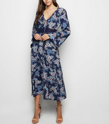 Influence Navy Paisley Print Dress