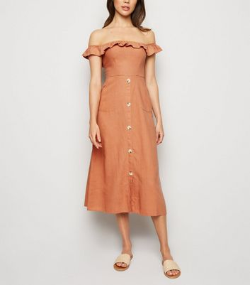 Rust Linen Blend Button Front Midi Dress