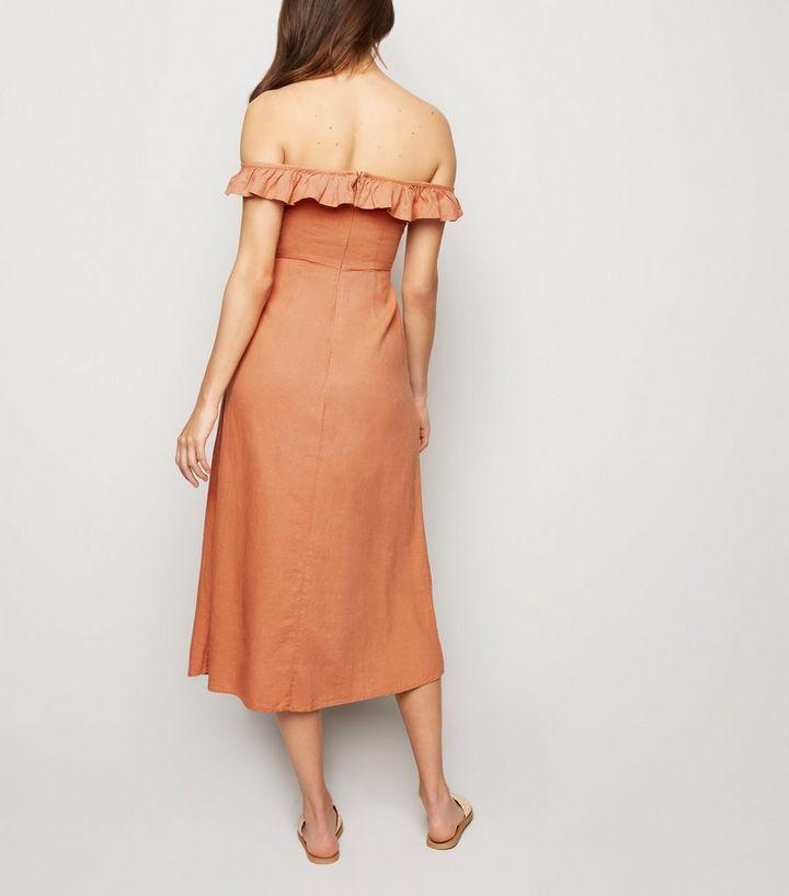 5291b24fec97 ... Rust Linen Blend Button Front Midi Dress. ×. ×. ×. Shop the look