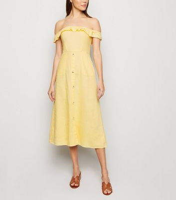 Pale Yellow Linen Blend Button Front Midi Dress