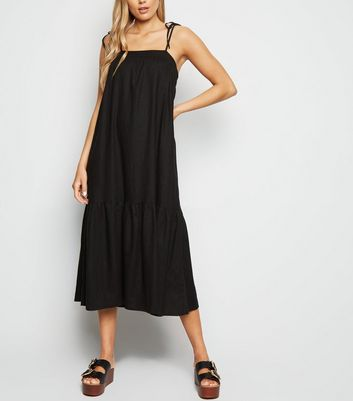 Black Linen Look Tiered Midi Dress