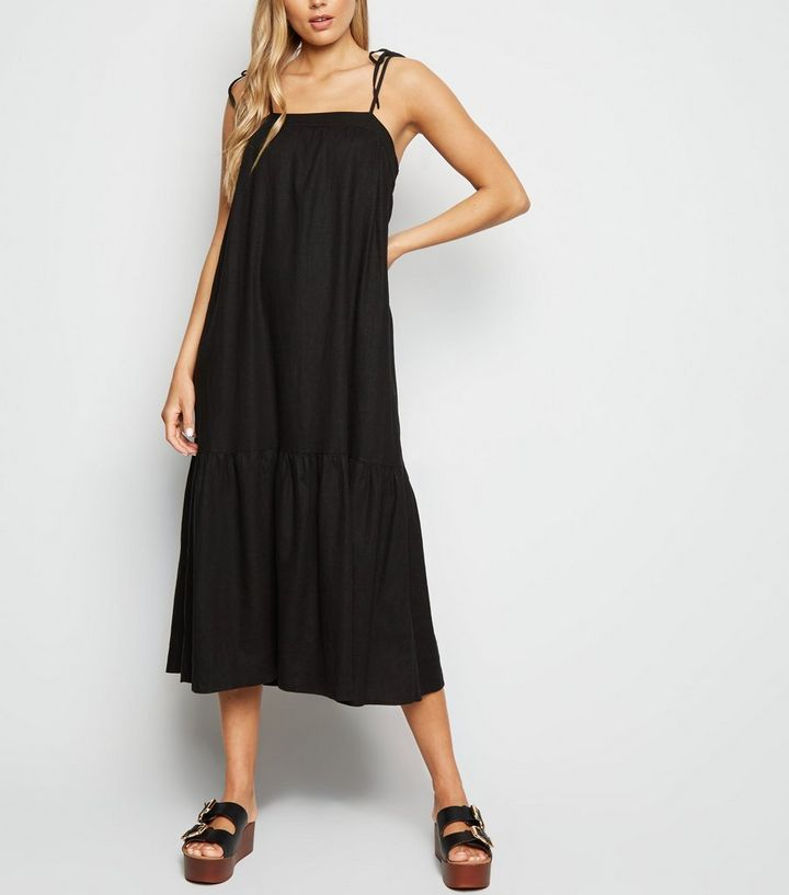 4b5eda158d5e7 Black Linen Look Tiered Midi Dress Add to Saved Items Remove from Saved  Items