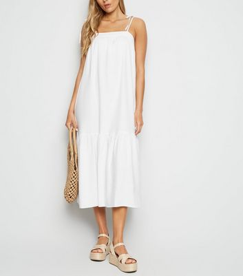 White Linen Look Tiered Midi Dress