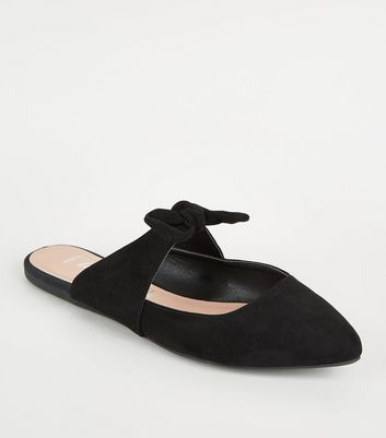 Wide Fit Black Bow Strap Pointed Mules