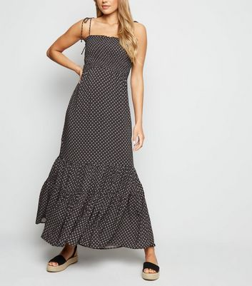 Black Geometric Shirred Tiered Maxi Dress