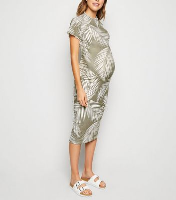 Maternity Green Palm Ribbed Midi Dress