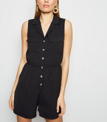 Black Herringbone Button Front Utility Playsuit