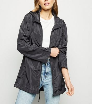 Black Hooded Longline Windbreaker Jacket