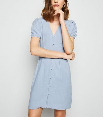 Blue Linen-Look Button Up Tea Dress