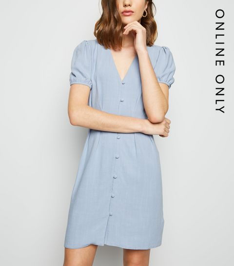 6744402f93d ... Blue Linen Look Button Up Tea Dress ...