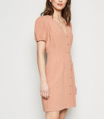 Mid Pink Linen Look Button Up Tea Dress